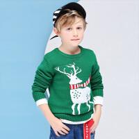 【2件3折】小猪班纳童装男童女童鹿头毛衣2019秋冬装新款针织衫中大童打底衫