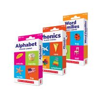 Scholastic Flash Cards 学乐卡片3盒套装 Phonics Alphabet Word Families Numbers 0-100 英文原版学习卡片 幼儿启蒙认知趣味玩具闪卡