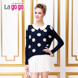 lagogo新款连衣裙套装长袖针织衫两件套
