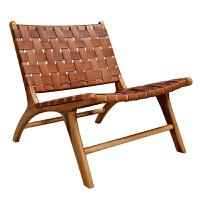 沙发椅客厅实木靠背真皮简约单人躺椅北欧ins休闲椅子 棕黄色(印尼海运仓转运中) 12月22日前发货