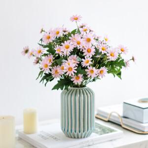 奇居良品 仿真花整体花艺装饰摆件 9头韩菊配萨拉螺纹陶瓷花瓶