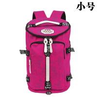 三用包行李包帆布书包女韩版大容量双肩包男健身背包多功能旅行包 玫红色 小号印花