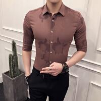男士印花衬衫韩版修身中袖衬衣潮流英伦青年时尚5分袖衬衣