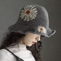 可折叠针织毛线帽渔夫帽女韩版休闲出游花朵羊毛混纺盆帽柔软