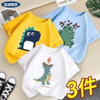 男童T恤中大童黄色上衣儿童小恐龙短袖男孩夏装
