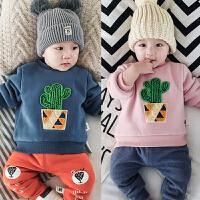 婴儿加绒上衣3男女2宝宝6冬季9绒衫保暖5加绒卫衣0-1岁新生儿冬装