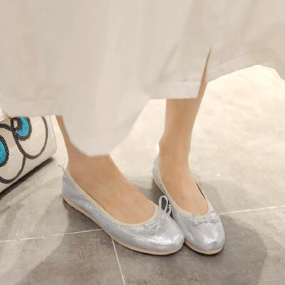 女童皮鞋儿童豆豆鞋平底学生单鞋12公主15岁蝴蝶结蛋卷鞋大童鞋