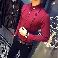 男士衬衣长袖 修身 韩版休闲寸衫2018春季新款潮流帅气色白衬衫