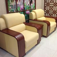 办公沙发茶几组合会客厅贵宾接待商务皮艺沙发单人位三人位会议室