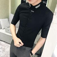 羽毛刺绣花发型师男士短袖衬衫修身中袖韩版衬衣薄7分袖夏季显瘦
