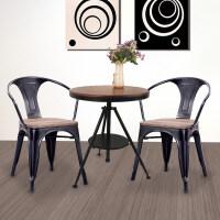 酒吧桌椅组合美式铁艺咖啡简约升茶几欧式小圆桌复古拼板小茶几