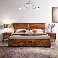 北欧家具现代新中式1518米实木床双人床简约乌金木床主卧高箱 其他 箱框结构