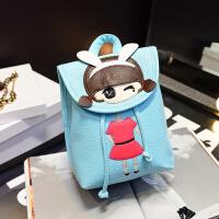 韩版卡通小西可爱女孩双肩包个性时尚亲子款女包抽带水桶潮包