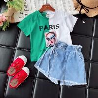 女童短袖套装夏季儿童牛仔短裤两件套潮衣时髦夏装