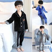 儿童睡衣春秋季男童家居服长袖中大童法兰绒保暖冬天款小男孩