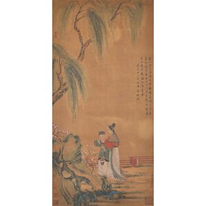 E1717 冷枚 款《柳荫仕女》(北京文物公司旧藏、文鼎题跋。多位名家收藏印。旧裱)