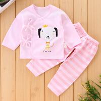 刚出生婴儿和尚服新生儿春夏季2宝宝无骨长袖薄款0-3个月套装 粉色 咪酷和尚服