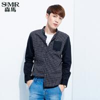 森马长袖衬衫 春装 男士格子拼接棉质休闲衬衣韩版潮男装