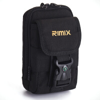 手机腰包男竖款6寸穿皮带战术腰包迷你多功能钥匙包运动腰带挂包 黑色