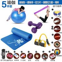 瑜伽垫套装套餐:瑜伽垫运动健身垫+瑜伽健身球+拉力带+脚蹬拉力器+哑铃