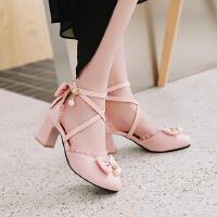 韩版女童凉鞋童鞋蝴蝶结包头公主鞋小女孩礼服表演高跟鞋
