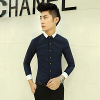 韩版修身长袖衬衫男士撞色酒吧工装发型师夜场衬衣青年寸衫工作服