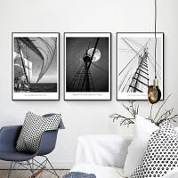 简约现代北欧客厅装饰画黑白帆船三联挂画卧室餐厅欧式组合竖壁画