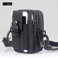 户外多功能战术腰包男士穿皮带小挂包实用帆布手机包零钱 y 黑色+背带 6寸