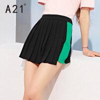 A21女夏新款宽松高腰短裙裤 夏季休闲个性撞色百褶下摆拉链短裤女