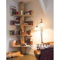 树形实木书架置物架木架子简易创意铁艺墙上置物书房落地书柜
