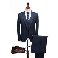 2019年新款加厚拉毛蓝色商务休闲西服套装5色可选三件套qt2005