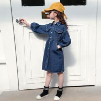 女童牛仔连衣裙儿童装春装洋气时尚春秋长袖牛仔裙子