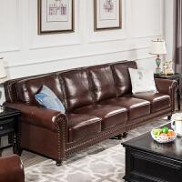 美式真皮沙发四人位小户型客厅整装直排复古油蜡皮简美沙发组合 其他