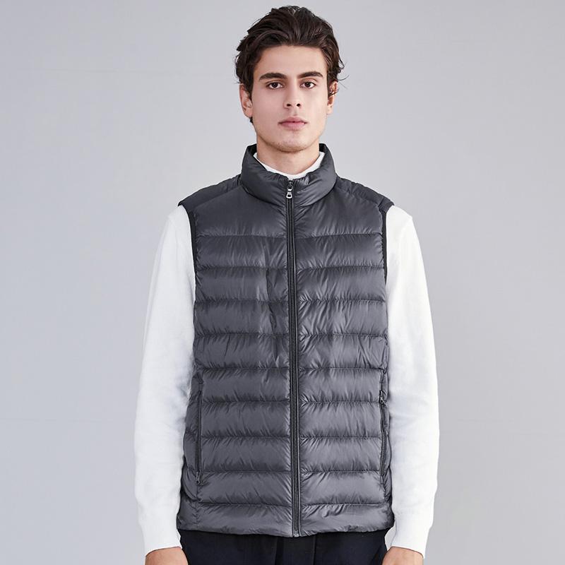 坦博尔2019新款男士轻羽绒马甲 冬季保暖羽绒无袖背心外套TA19001 开学季 1件3折