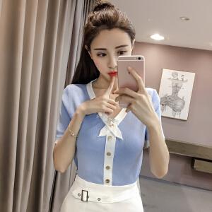 【班图诗妮】2018春夏新款性感显瘦韩版冰丝针织亮丝T恤短袖上衣