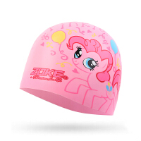 ZOKE 洲克儿童硅胶泳帽女童防水护耳游泳帽子小马宝莉卡通小女孩游泳帽