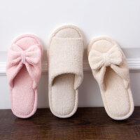 室内家用开口棉拖鞋 女蝴蝶结木地板室内棉鞋 情侣舒适毛绒拖鞋