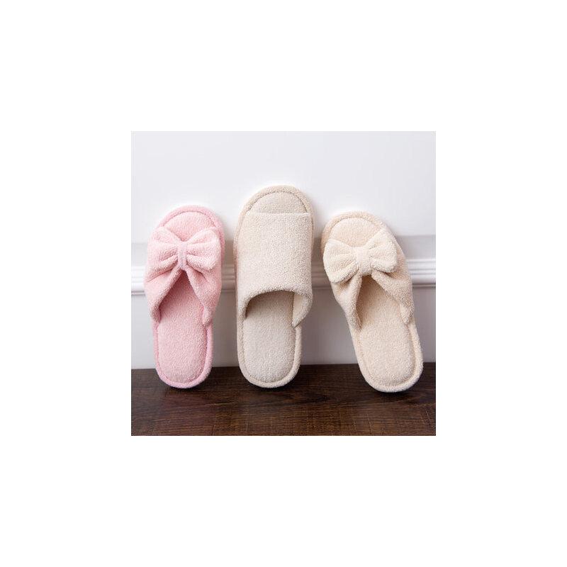 室内家用开口棉拖鞋 女蝴蝶结木地板室内棉鞋 情侣舒适毛绒拖鞋 品质保证 售后无忧