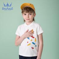 souhait水孩儿童装儿童夏季儿童POLO衫短袖POLO男童T恤