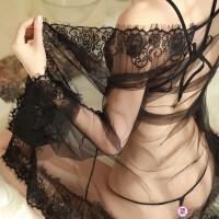 情趣内衣开档露乳三点睡裙透视装三件套性感睡衣激情套装浴袍骚