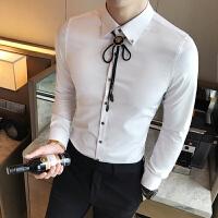 2017秋季新款男士纯色长袖衬衫男韩版修身时尚个性挂饰衬衫发型师