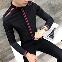 衬衫男长袖修身 韩版 潮流 帅气发型师寸衫夜店学生衬衣服 青少年