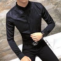 青年个性演出夜场少爷职业装男士修身烫金印花长袖衬衫发型师衬衣