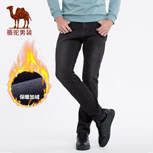 骆驼男装  秋冬新款加绒加厚牛仔裤男士中腰直筒休闲保暖长裤