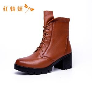 【专柜正品】红蜻蜓系带粗高跟圆头时尚英伦女靴子