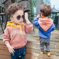 男童加绒连帽卫衣2017冬季新款童装女宝宝套头加厚上衣儿童帽衫