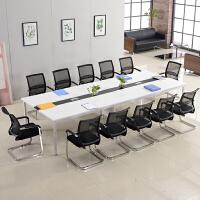 办公家具大中型会议桌长桌现代板式开会桌台桌长方形办公桌椅组合 +14椅