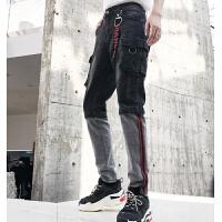 复古做旧水洗牛仔裤男长裤个性拼接多口袋工装小脚裤夜店男装潮裤