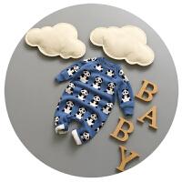 婴儿连体衣秋冬0-1岁男宝宝百天衣服3-6个月毛线哈衣爬爬服纯棉潮