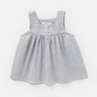 女童夏装休闲格子背心婴儿宝宝上衣无袖夏季薄款儿童2018新款